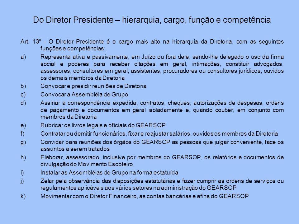 Do Diretor Presidente – hierarquia, cargo, função e competência