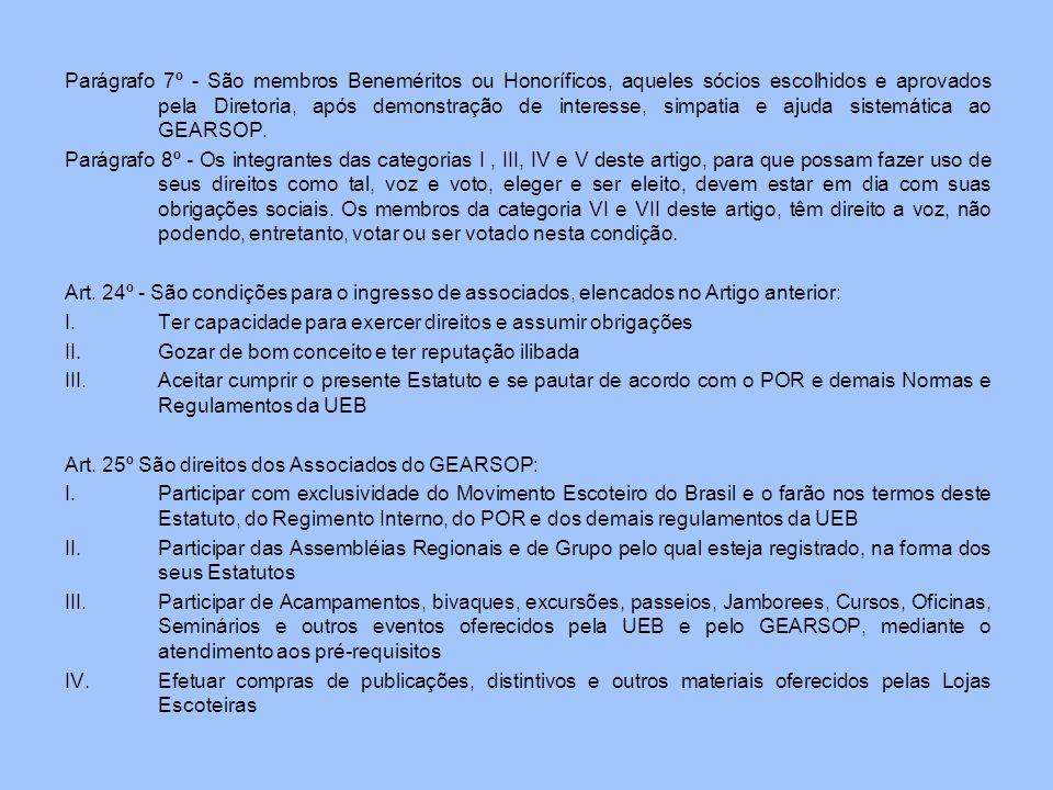 Parágrafo 7º - São membros Beneméritos ou Honoríficos, aqueles sócios escolhidos e aprovados pela Diretoria, após demonstração de interesse, simpatia e ajuda sistemática ao GEARSOP.