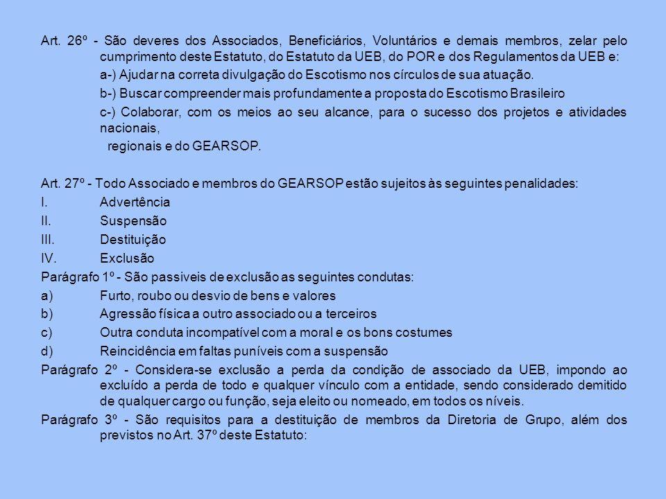 Art. 26º - São deveres dos Associados, Beneficiários, Voluntários e demais membros, zelar pelo cumprimento deste Estatuto, do Estatuto da UEB, do POR e dos Regulamentos da UEB e: