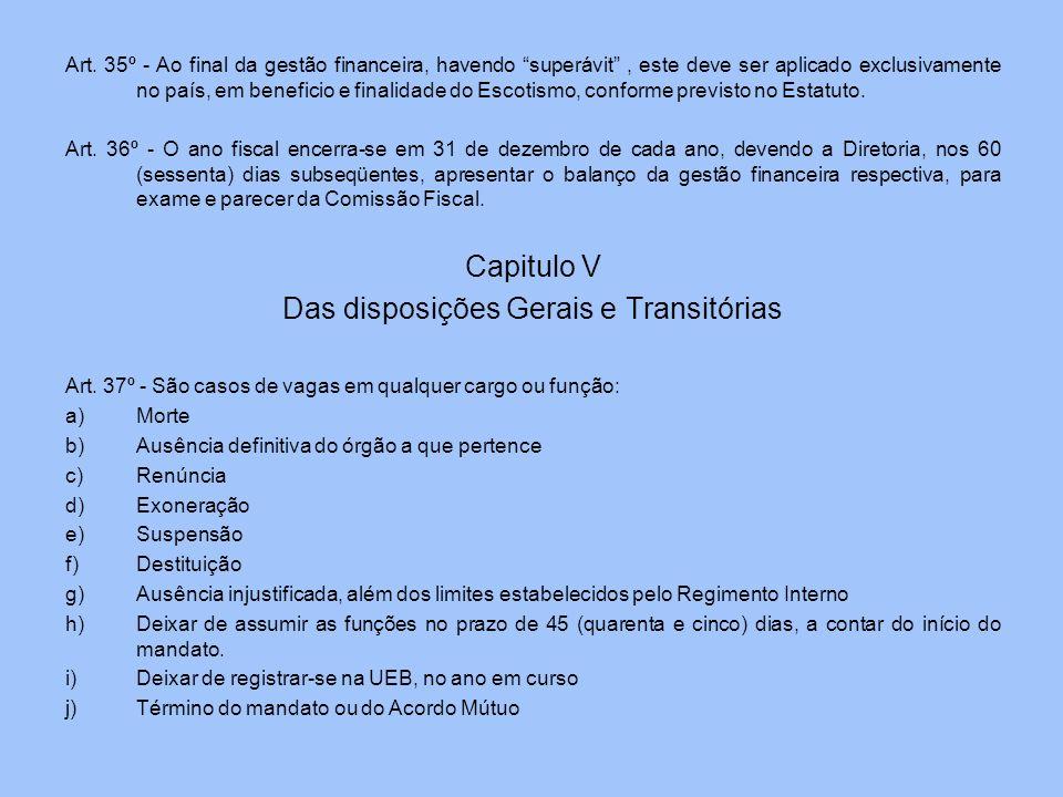 Das disposições Gerais e Transitórias