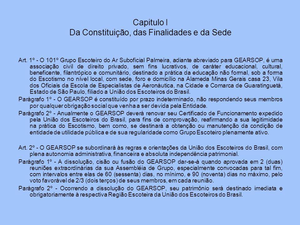 Capitulo I Da Constituição, das Finalidades e da Sede