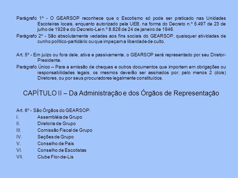 CAPÍTULO II – Da Administração e dos Órgãos de Representação