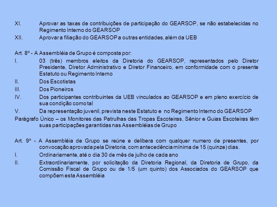 Aprovar as taxas de contribuições de participação do GEARSOP, se não estabelecidas no Regimento Interno do GEARSOP