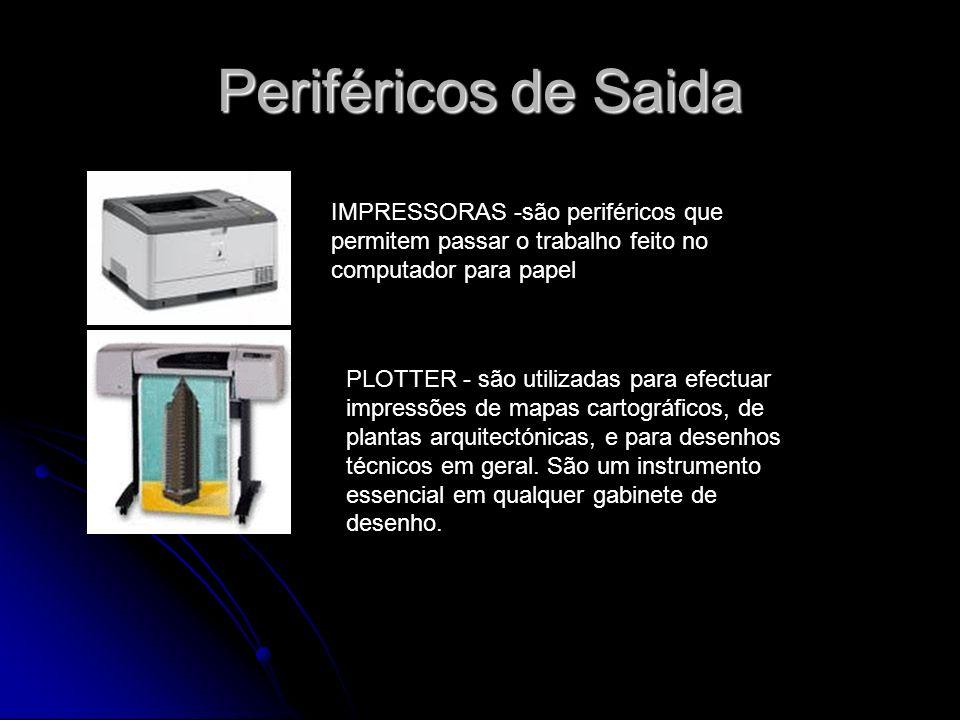 Periféricos de Saida IMPRESSORAS -são periféricos que permitem passar o trabalho feito no computador para papel.