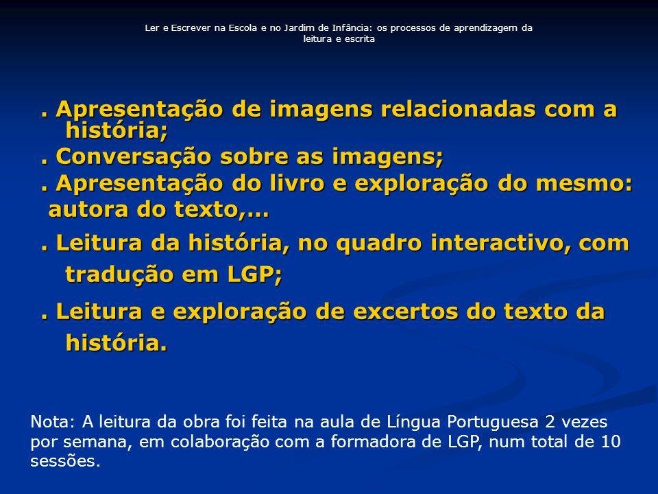 . Apresentação de imagens relacionadas com a história;