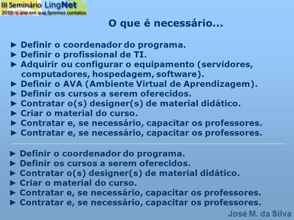 O que é necessário... ► Definir o coordenador do programa.