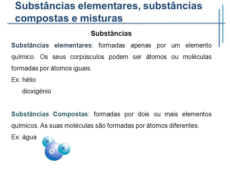 Substâncias elementares, substâncias compostas e misturas