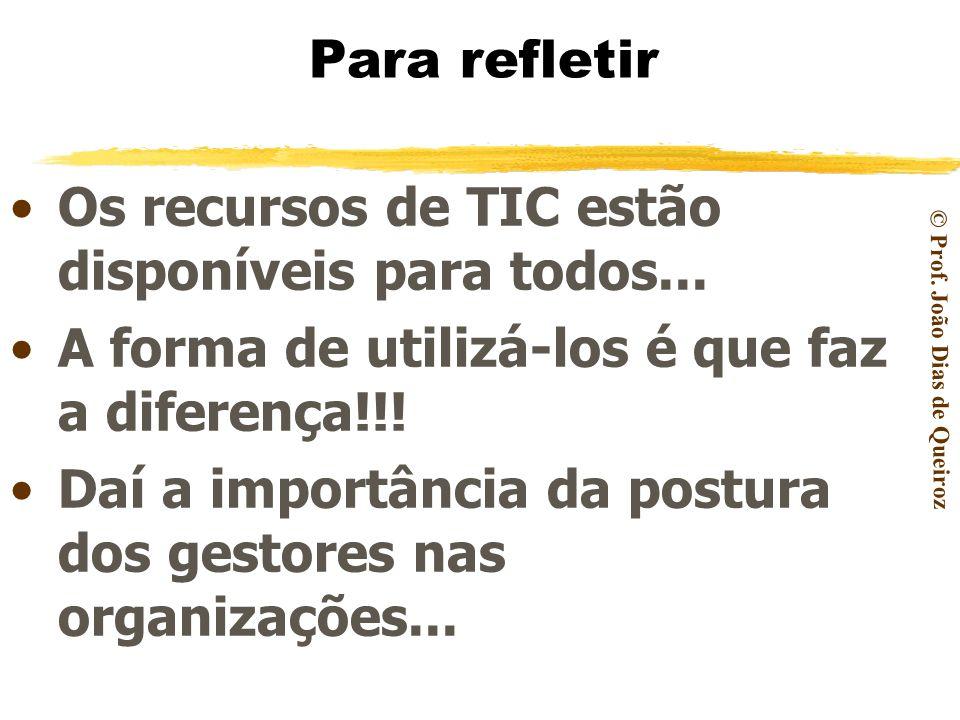 Para refletir Os recursos de TIC estão disponíveis para todos... A forma de utilizá-los é que faz a diferença!!!