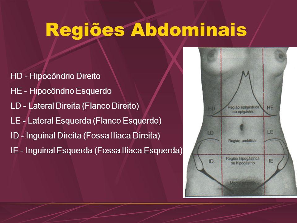 Regiões Abdominais HD - Hipocôndrio Direito HE - Hipocôndrio Esquerdo