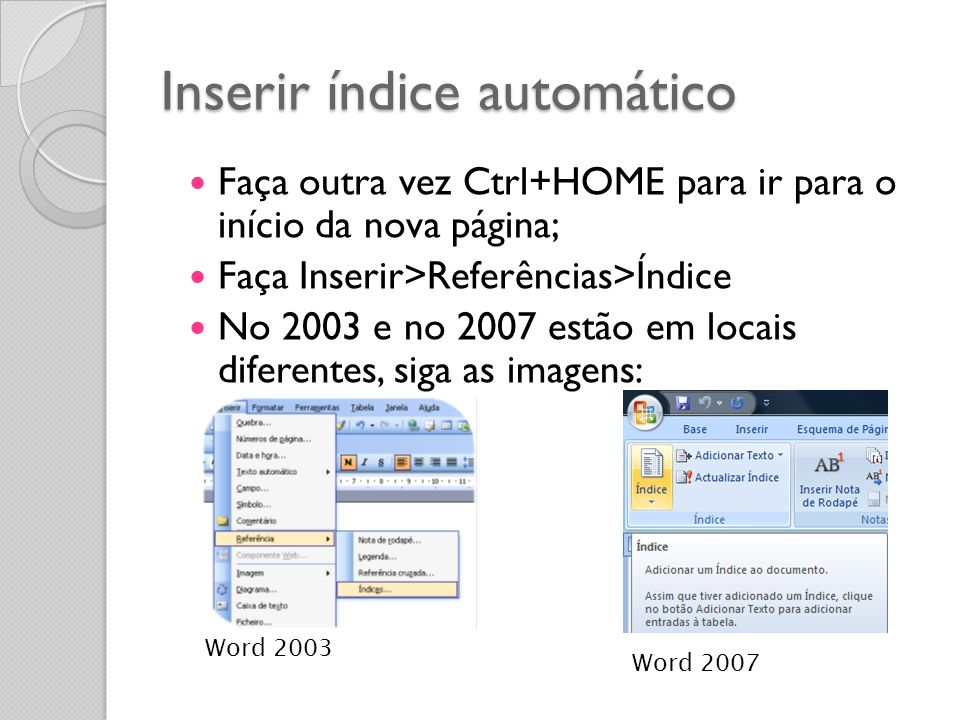 Inserir índice automático
