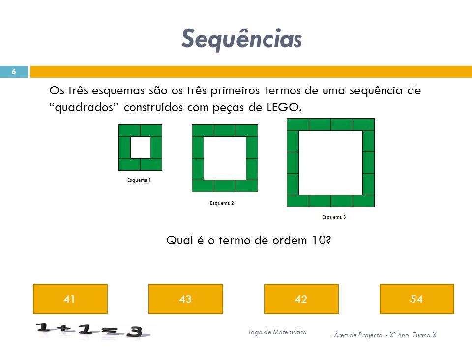Sequências Os três esquemas são os três primeiros termos de uma sequência de quadrados construídos com peças de LEGO.