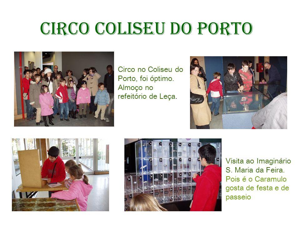 Circo Coliseu do Porto Circo no Coliseu do Porto, foi óptimo. Almoço no refeitório de Leça. Visita ao Imaginário S. Maria da Feira.
