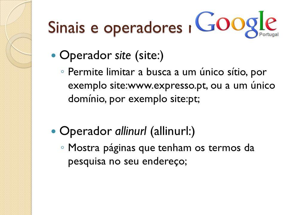 Sinais e operadores no Operador site (site:)