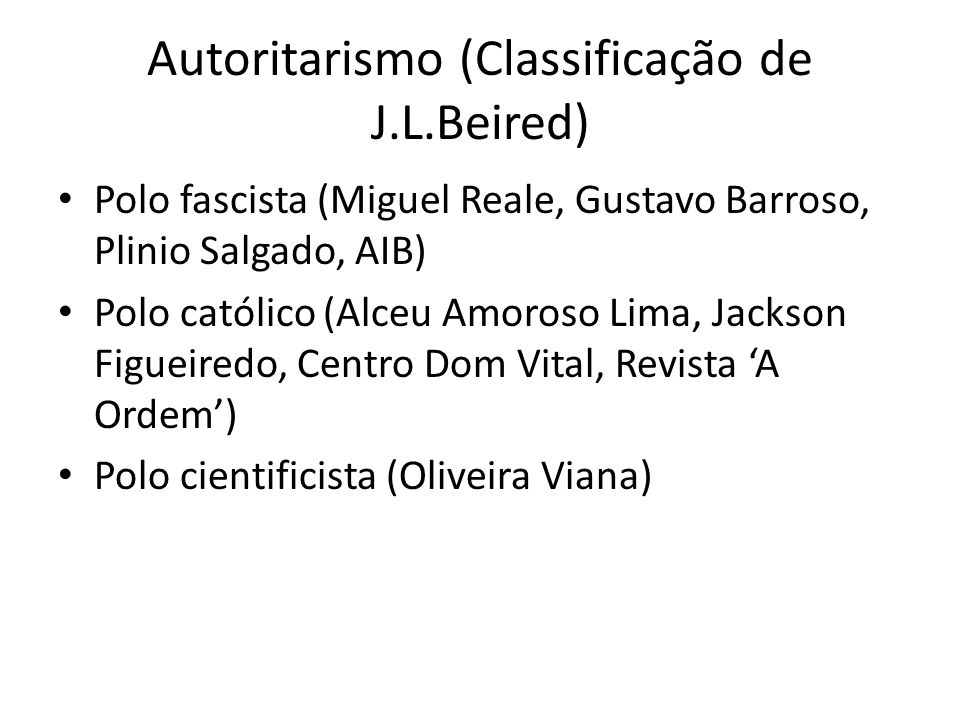 Autoritarismo (Classificação de J.L.Beired)