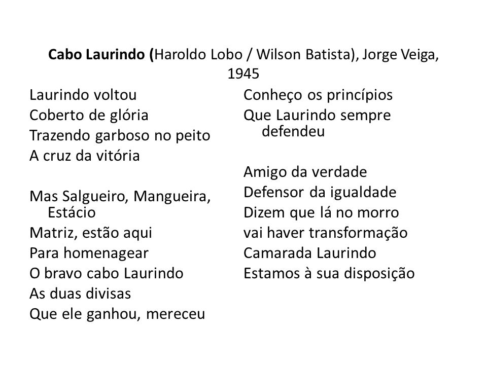 Cabo Laurindo (Haroldo Lobo / Wilson Batista), Jorge Veiga, 1945