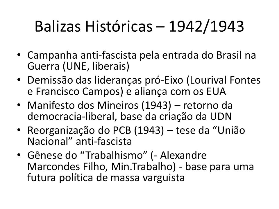 Balizas Históricas – 1942/1943 Campanha anti-fascista pela entrada do Brasil na Guerra (UNE, liberais)