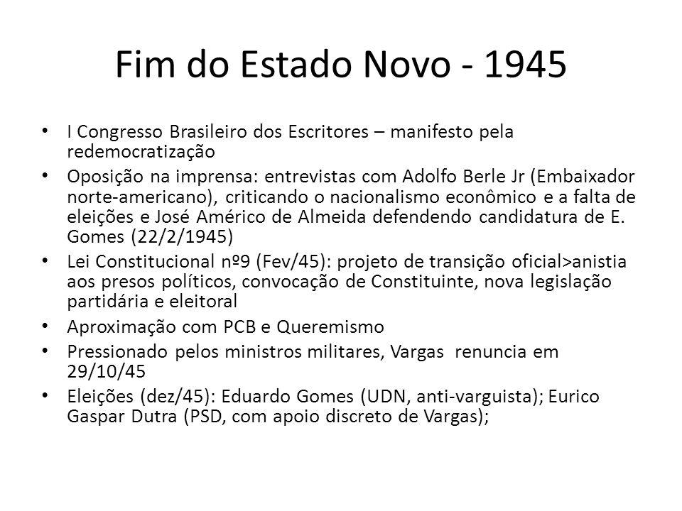 Fim do Estado Novo - 1945 I Congresso Brasileiro dos Escritores – manifesto pela redemocratização.