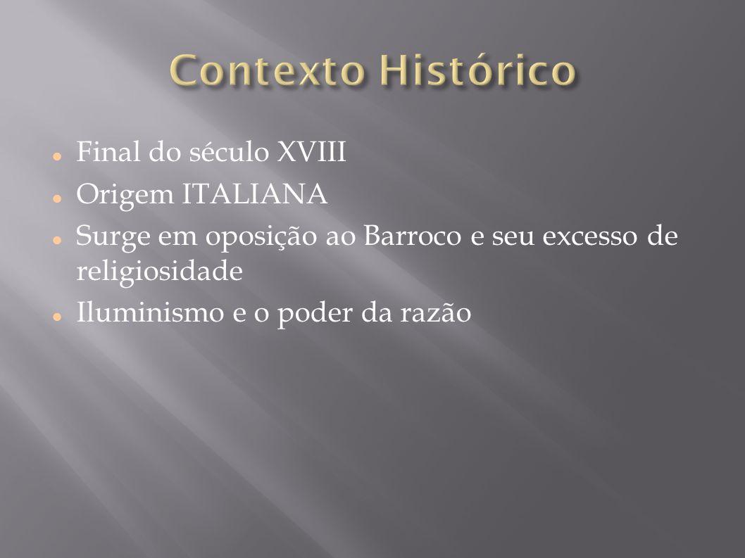 Contexto Histórico Final do século XVIII Origem ITALIANA