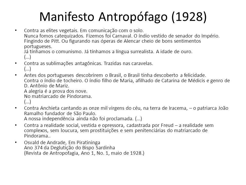 Manifesto Antropófago (1928)