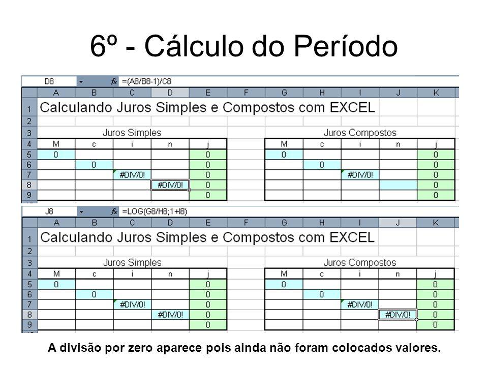 6º - Cálculo do Período A divisão por zero aparece pois ainda não foram colocados valores.