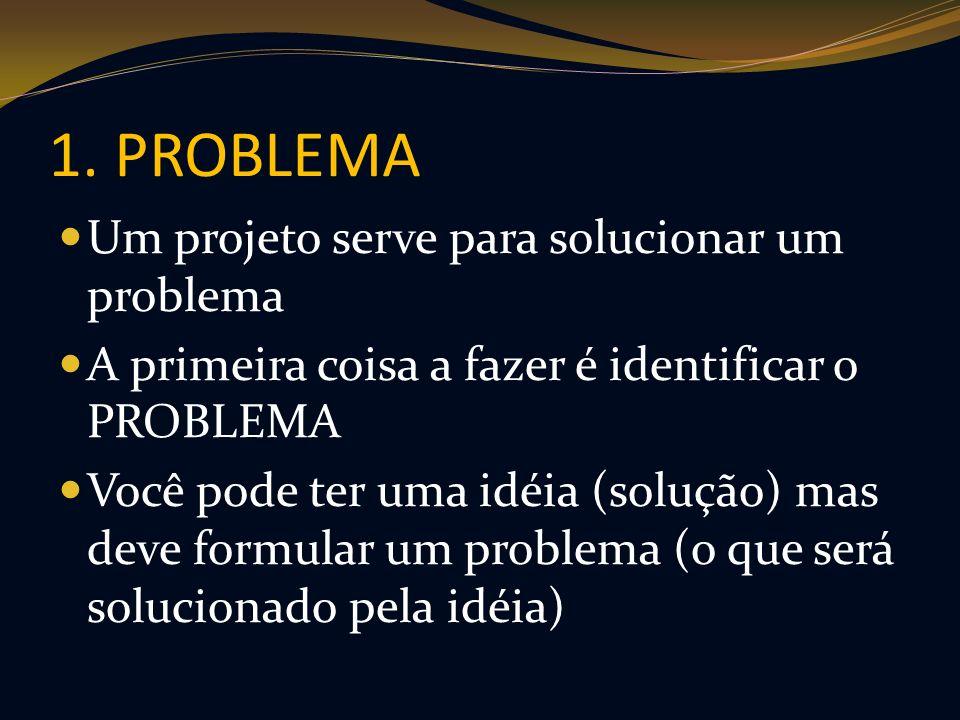 1. PROBLEMA Um projeto serve para solucionar um problema