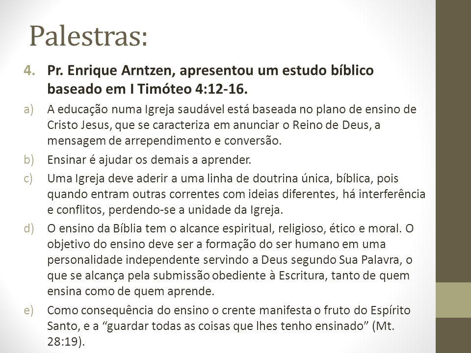 Palestras: Pr. Enrique Arntzen, apresentou um estudo bíblico baseado em I Timóteo 4:12-16.