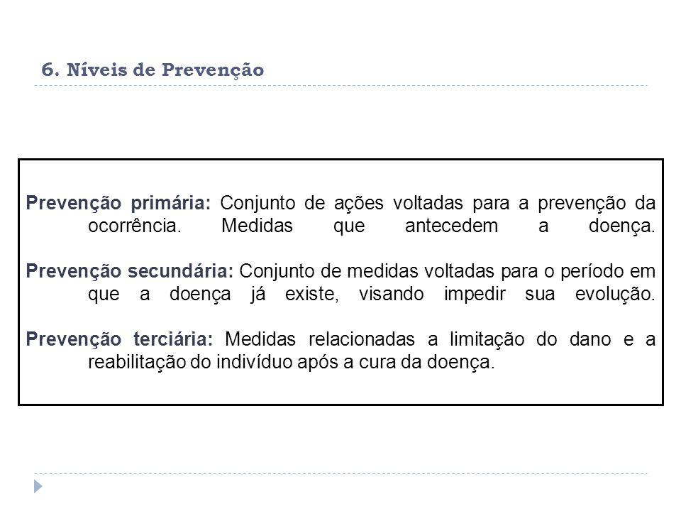 6. Níveis de Prevenção Prevenção primária: Conjunto de ações voltadas para a prevenção da ocorrência. Medidas que antecedem a doença.