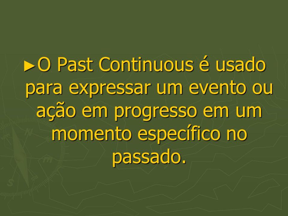 O Past Continuous é usado para expressar um evento ou ação em progresso em um momento específico no passado.