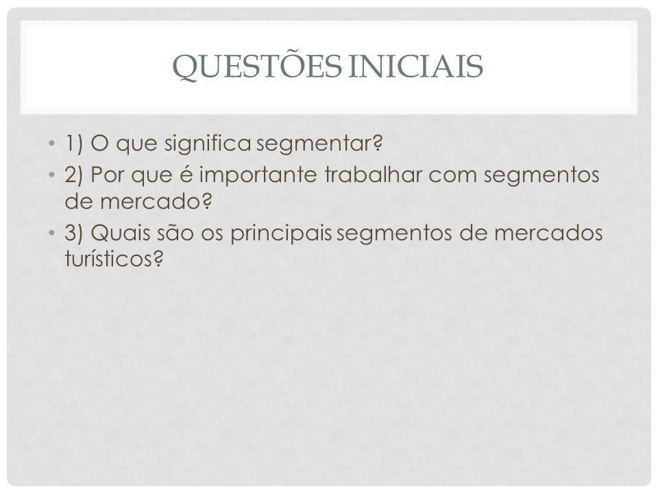 QUESTÕES INICIAIS 1) O que significa segmentar
