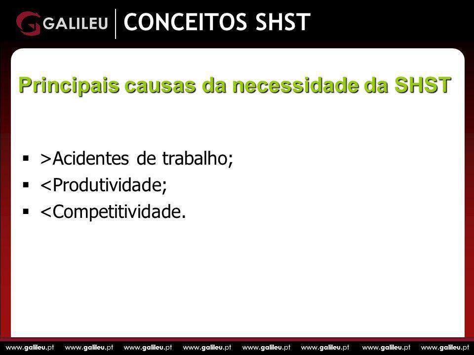 CONCEITOS SHST Principais causas da necessidade da SHST