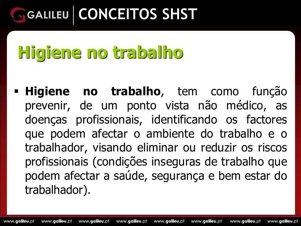 Higiene no trabalho CONCEITOS SHST
