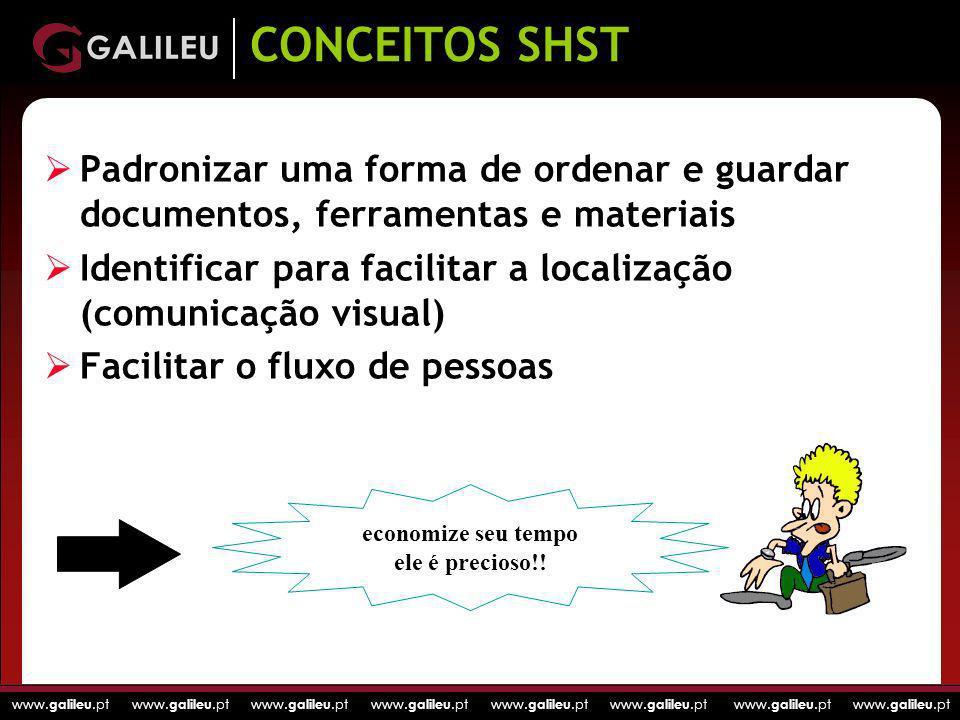 CONCEITOS SHST Padronizar uma forma de ordenar e guardar documentos, ferramentas e materiais.