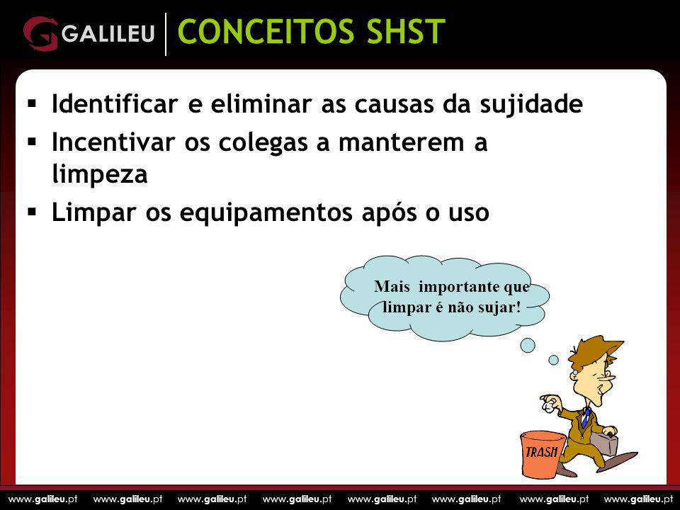 CONCEITOS SHST Identificar e eliminar as causas da sujidade