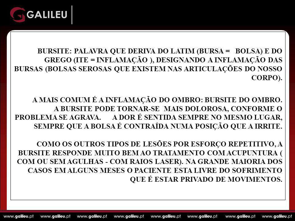 BURSITE: PALAVRA QUE DERIVA DO LATIM (BURSA = BOLSA) E DO GREGO (ITE = INFLAMAÇÃO ), DESIGNANDO A INFLAMAÇÃO DAS BURSAS (BOLSAS SEROSAS QUE EXISTEM NAS ARTICULAÇÕES DO NOSSO CORPO).