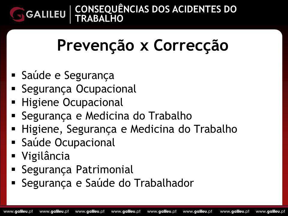 Prevenção x Correcção Saúde e Segurança Segurança Ocupacional