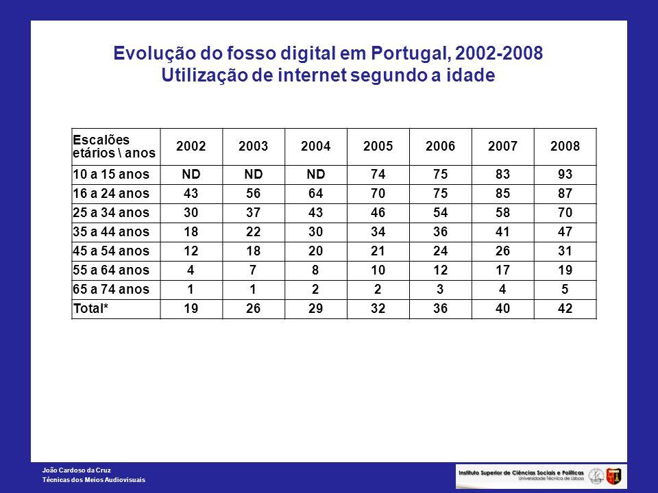 Evolução do fosso digital em Portugal, 2002-2008 Utilização de internet segundo a idade