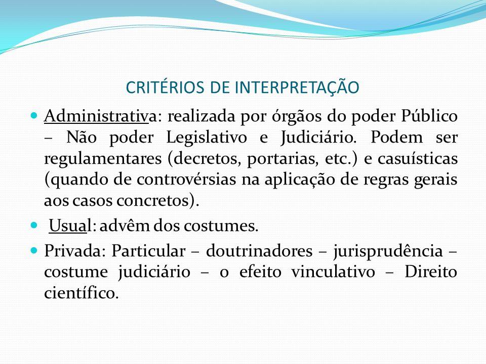CRITÉRIOS DE INTERPRETAÇÃO