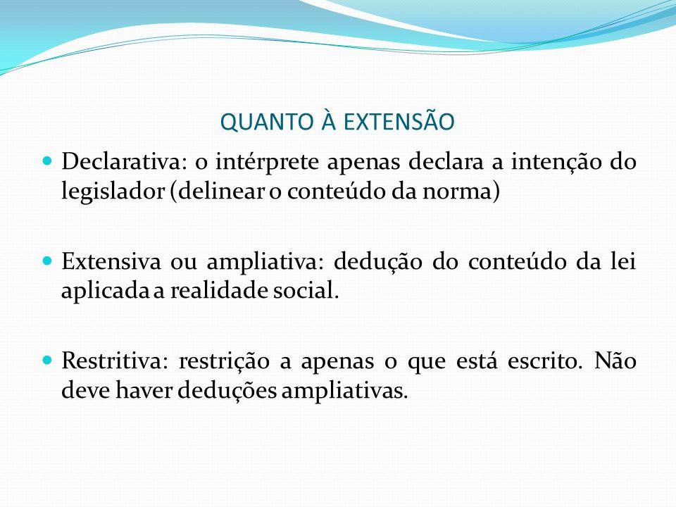 QUANTO À EXTENSÃO Declarativa: o intérprete apenas declara a intenção do legislador (delinear o conteúdo da norma)