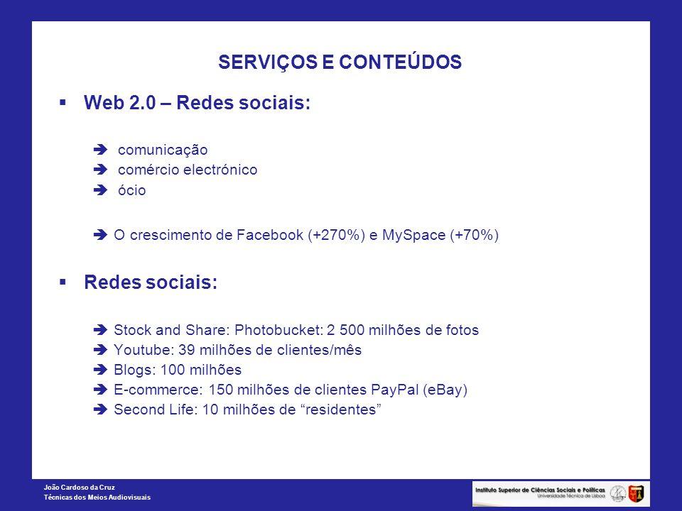 SERVIÇOS E CONTEÚDOS Web 2.0 – Redes sociais: Redes sociais: