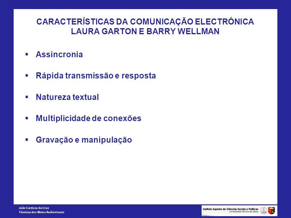 CARACTERÍSTICAS DA COMUNICAÇÃO ELECTRÓNICA LAURA GARTON E BARRY WELLMAN