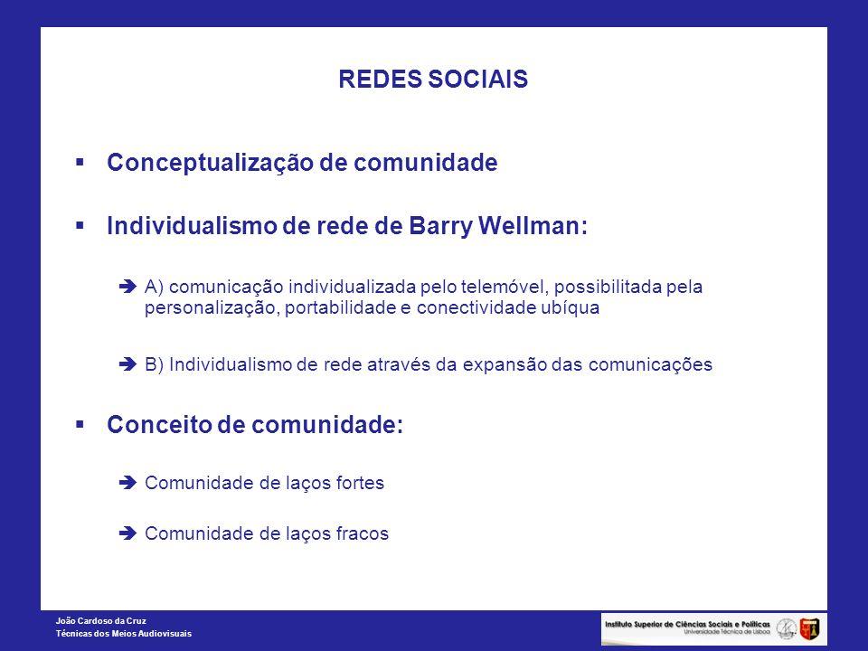 REDES SOCIAIS Conceptualização de comunidade