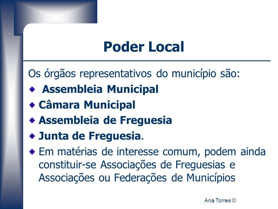 Poder Local Os órgãos representativos do município são: