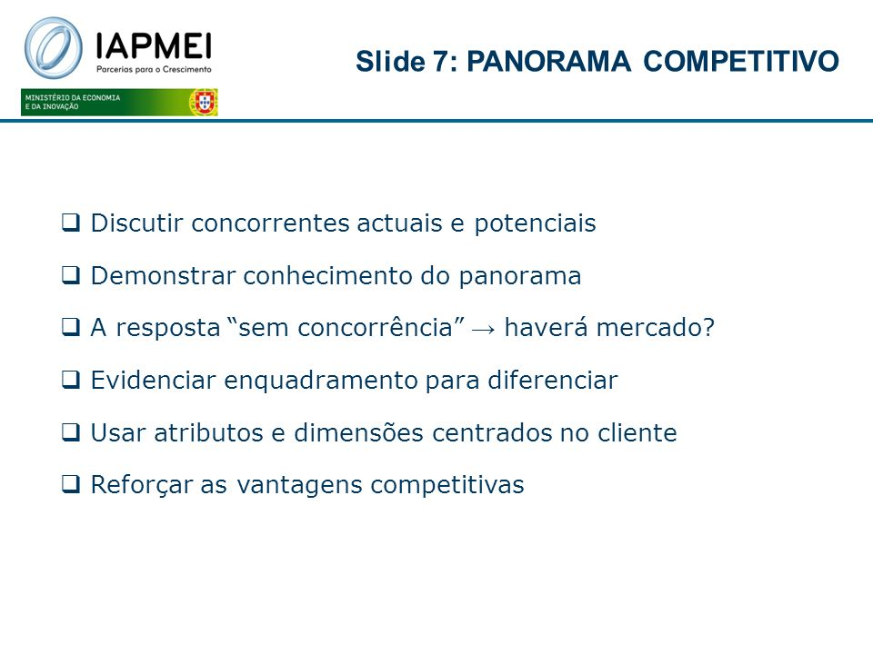 Slide 7: PANORAMA COMPETITIVO