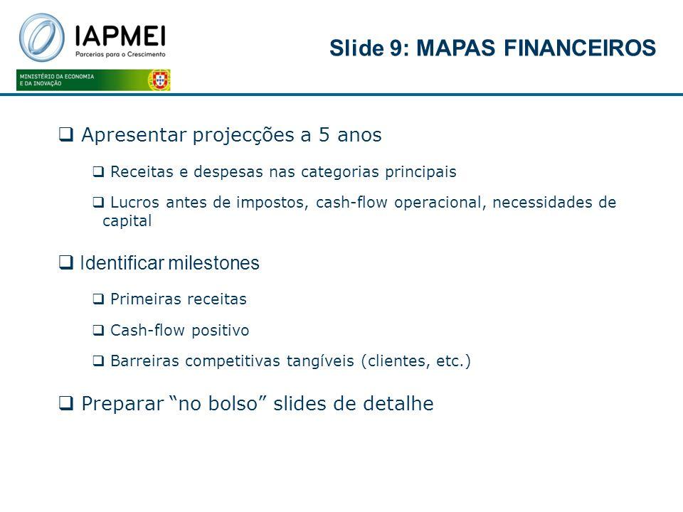 Slide 9: MAPAS FINANCEIROS