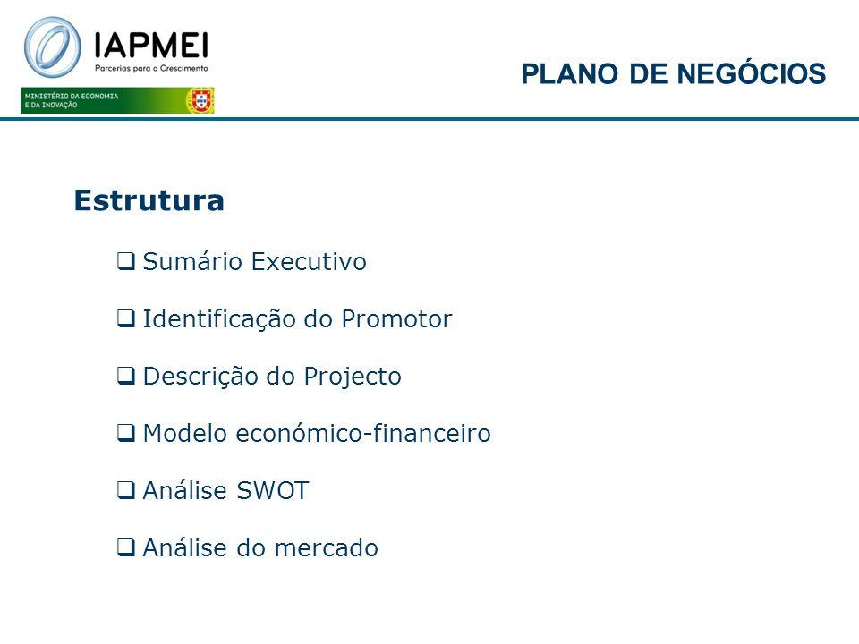 PLANO DE NEGÓCIOS Estrutura Sumário Executivo