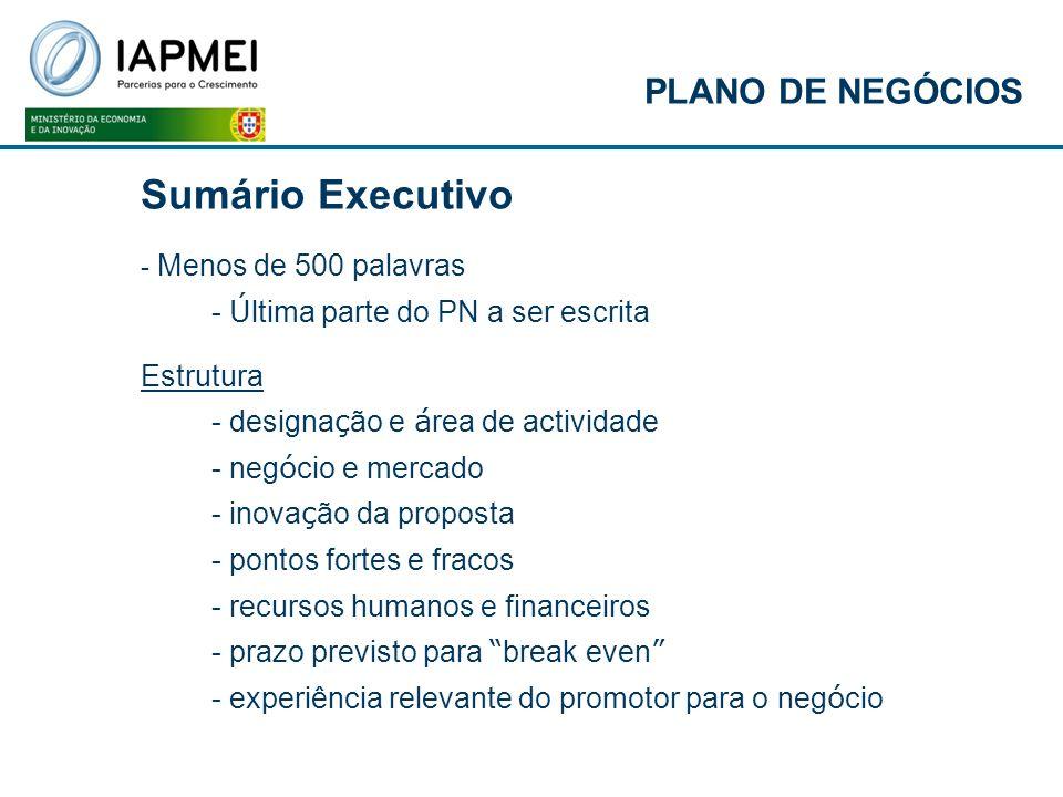 Sumário Executivo PLANO DE NEGÓCIOS