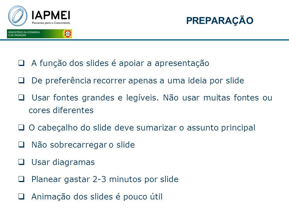 PREPARAÇÃO A função dos slides é apoiar a apresentação