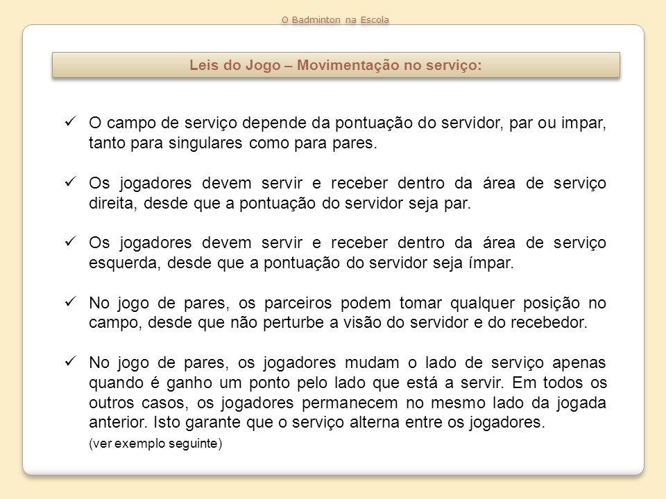 Leis do Jogo – Movimentação no serviço: