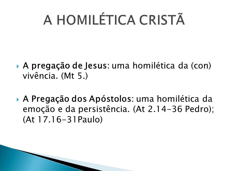 A HOMILÉTICA CRISTÃ A pregação de Jesus: uma homilética da (con) vivência. (Mt 5.)