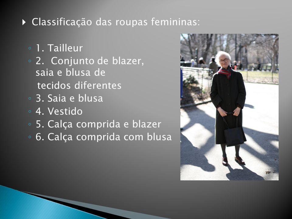  Classificação das roupas femininas: